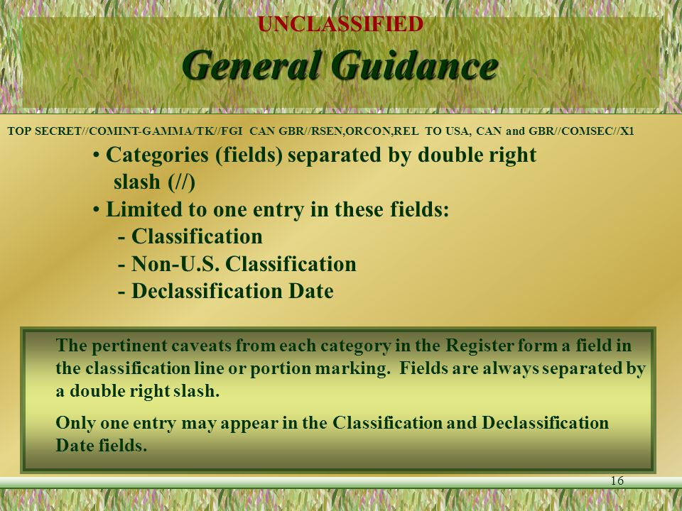 UNCLASSIFIED 15 General Guidance Classification Line -- - Top and bottom - All uppercase letters - Classification spelled out Only fields that apply t