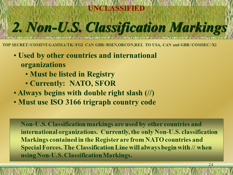 UNCLASSIFIED 23 Classification Markings - Example (TS) This paragraph would contain information that could cause exceptionally grave damage to the U.S