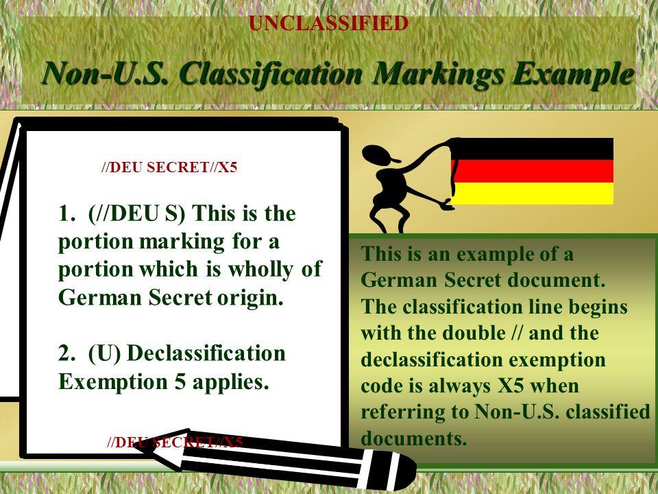 UNCLASSIFIED 25 Non-U.S. Classification Markings Authorized Non-U.S. classification and abbreviations: TOP SECRET (TS) SECRET(S) CONFIDENTIAL (C) REST