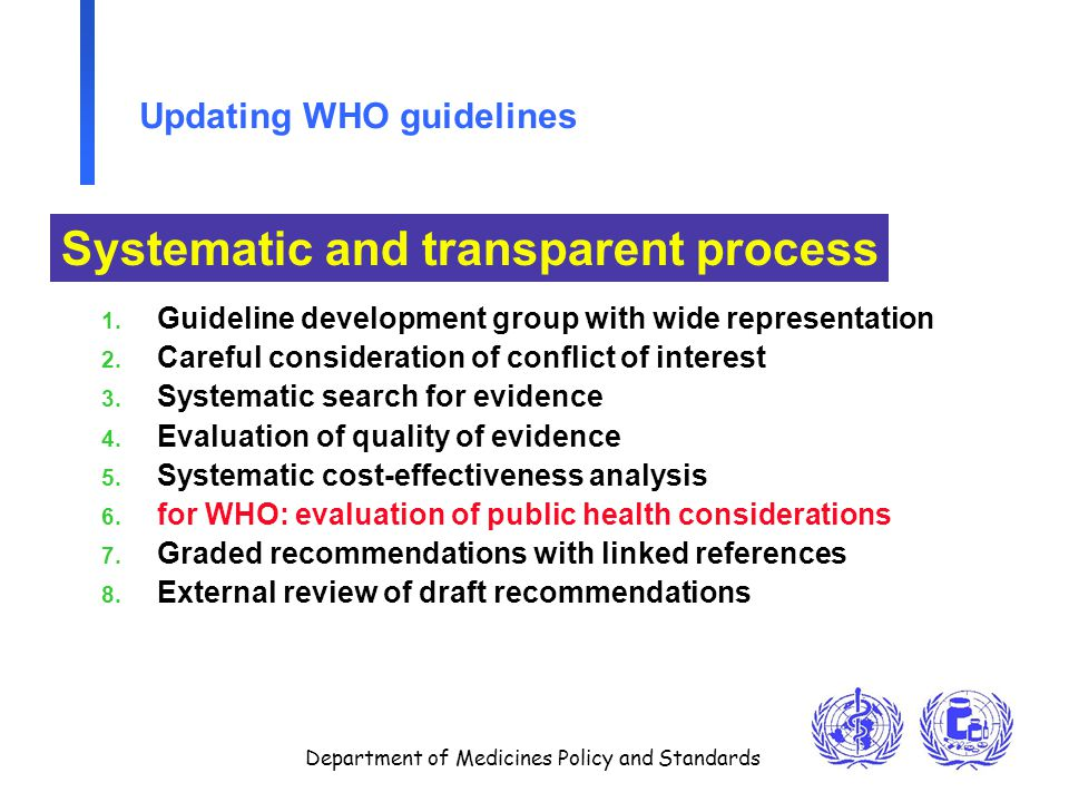 Department of Medicines Policy and Standards Updating WHO guidelines 1.