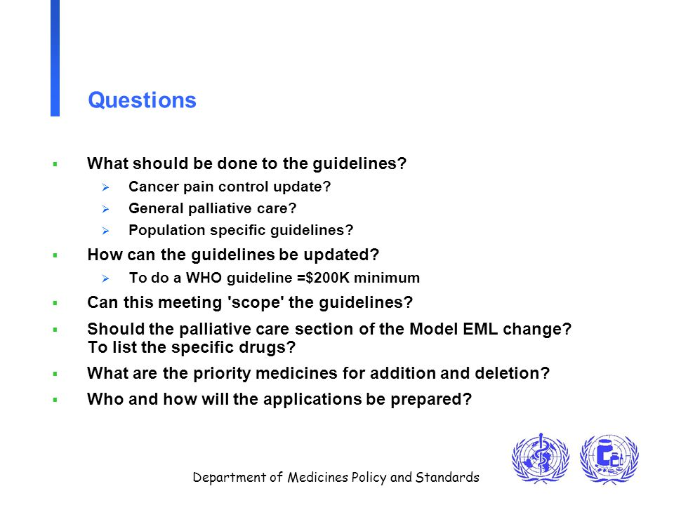 Department of Medicines Policy and Standards Questions  What should be done to the guidelines?  Cancer pain control update?  General palliative car