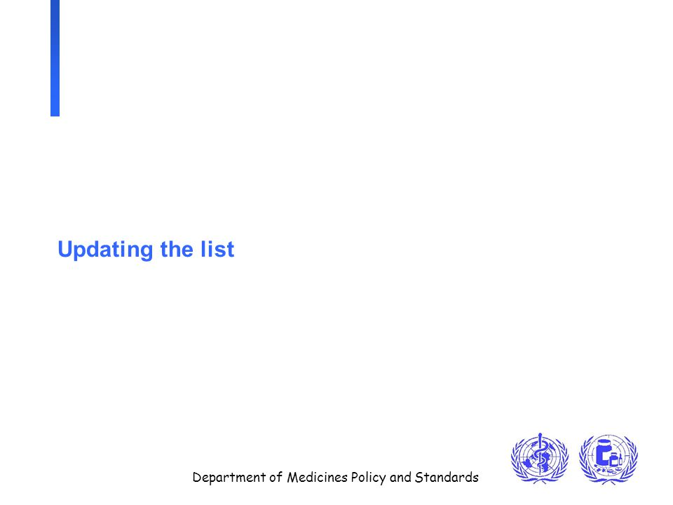 Department of Medicines Policy and Standards Updating the list