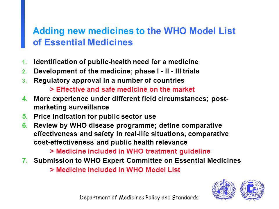 Department of Medicines Policy and Standards Adding new medicines to the WHO Model List of Essential Medicines 1. Identification of public-health need