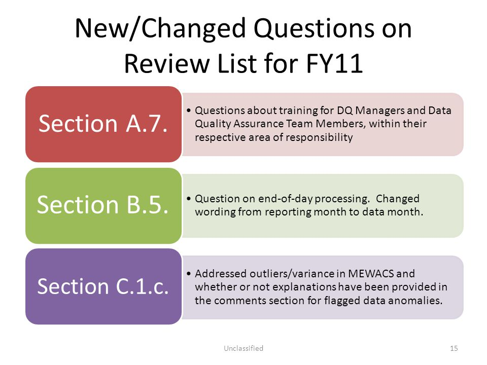 New/Changed Questions on Review List for FY11 Questions about training for DQ Managers and Data Quality Assurance Team Members, within their respectiv