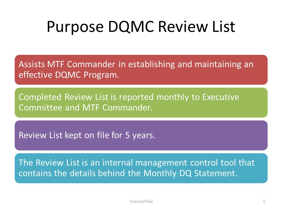 DQMC Review List – Section Overview A.