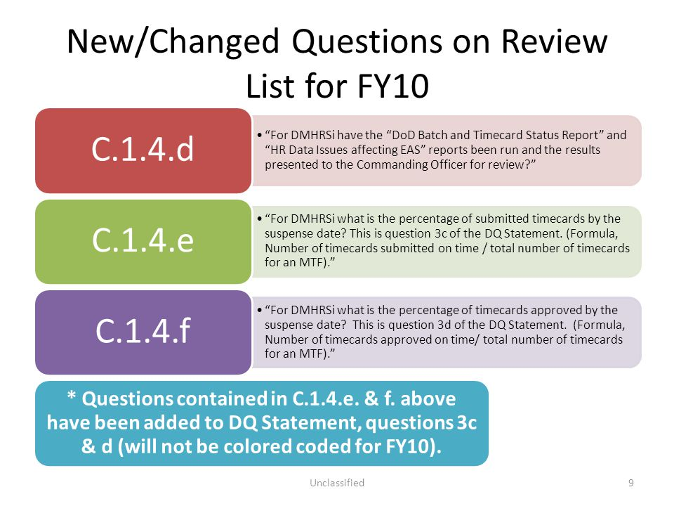 New/Changed Questions on Review List for FY10 Addresses the use of CHCS software used to identity potential duplicate patients.