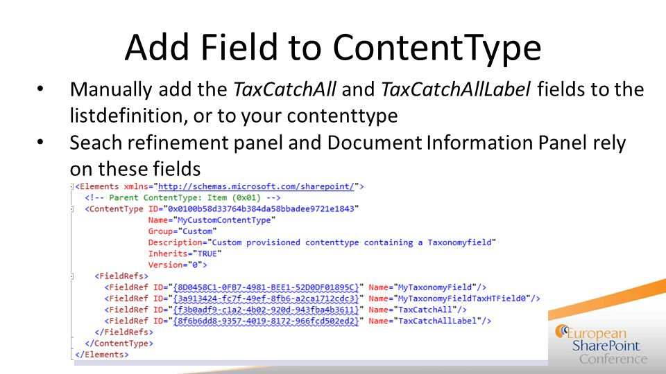 Add Field to ContentType Manually add the TaxCatchAll and TaxCatchAllLabel fields to the listdefinition, or to your contenttype Seach refinement panel