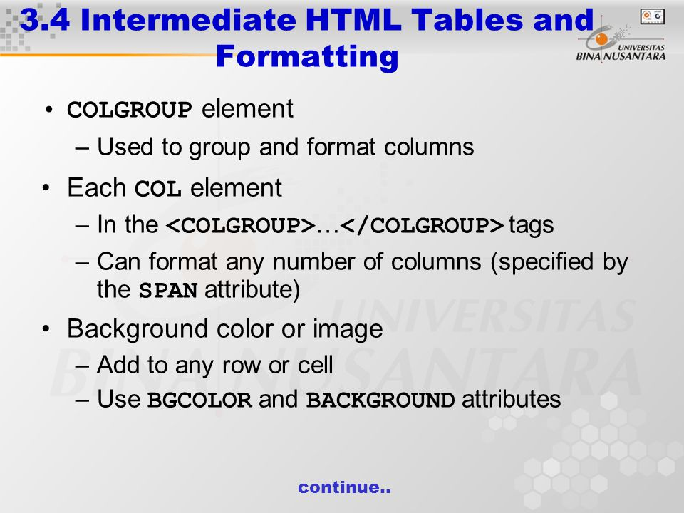 3.4 Intermediate HTML Tables and Formatting COLGROUP element –Used to group and format columns Each COL element –In the … tags –Can format any number of columns (specified by the SPAN attribute) Background color or image –Add to any row or cell –Use BGCOLOR and BACKGROUND attributes continue..