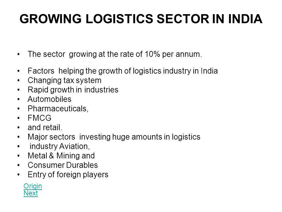 GROWING LOGISTICS SECTOR IN INDIA The sector growing at the rate of 10% per annum. Factors helping the growth of logistics industry in India Changing