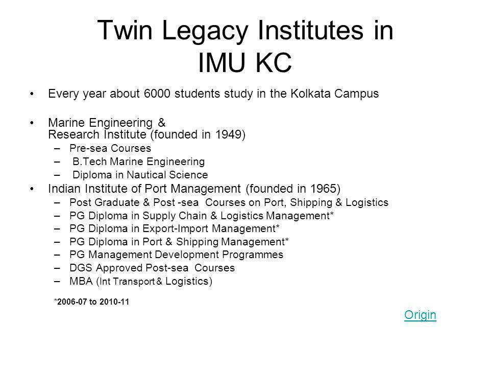 Twin Legacy Institutes in IMU KC Every year about 6000 students study in the Kolkata Campus Marine Engineering & Research Institute (founded in 1949)