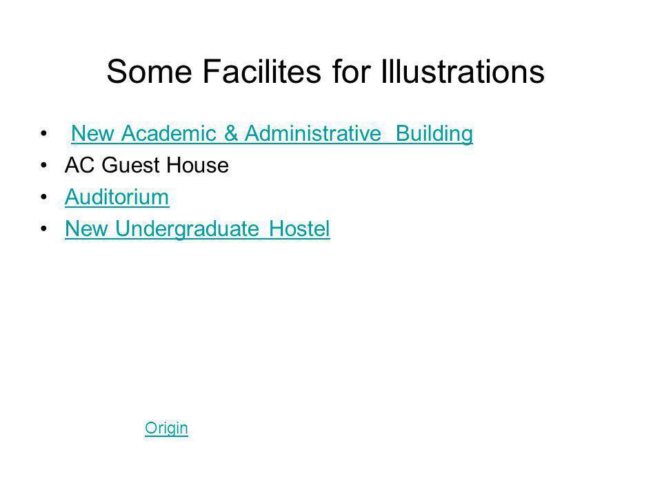 Some Facilites for Illustrations New Academic & Administrative Building AC Guest House Auditorium New Undergraduate Hostel Origin