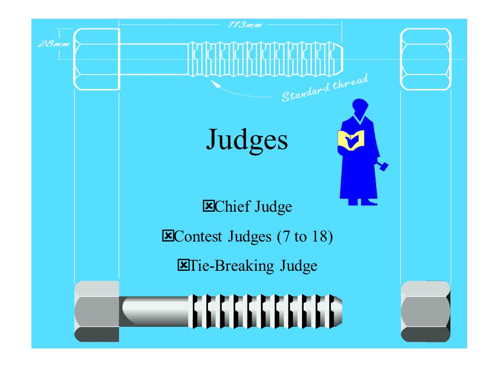  Chief Judge  Contest Judges (7 to 18)  Tie-Breaking Judge Judges