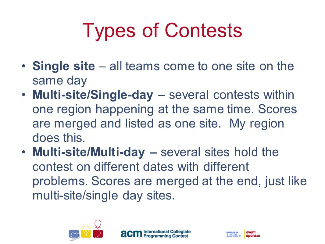Sallie Henry Types of Contests Single site – all teams come to one site on the same day Multi-site/Single-day – several contests within one region happening at the same time.