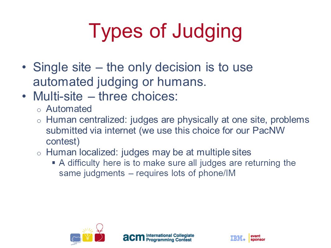 Sallie Henry Types of Judging Single site – the only decision is to use automated judging or humans.