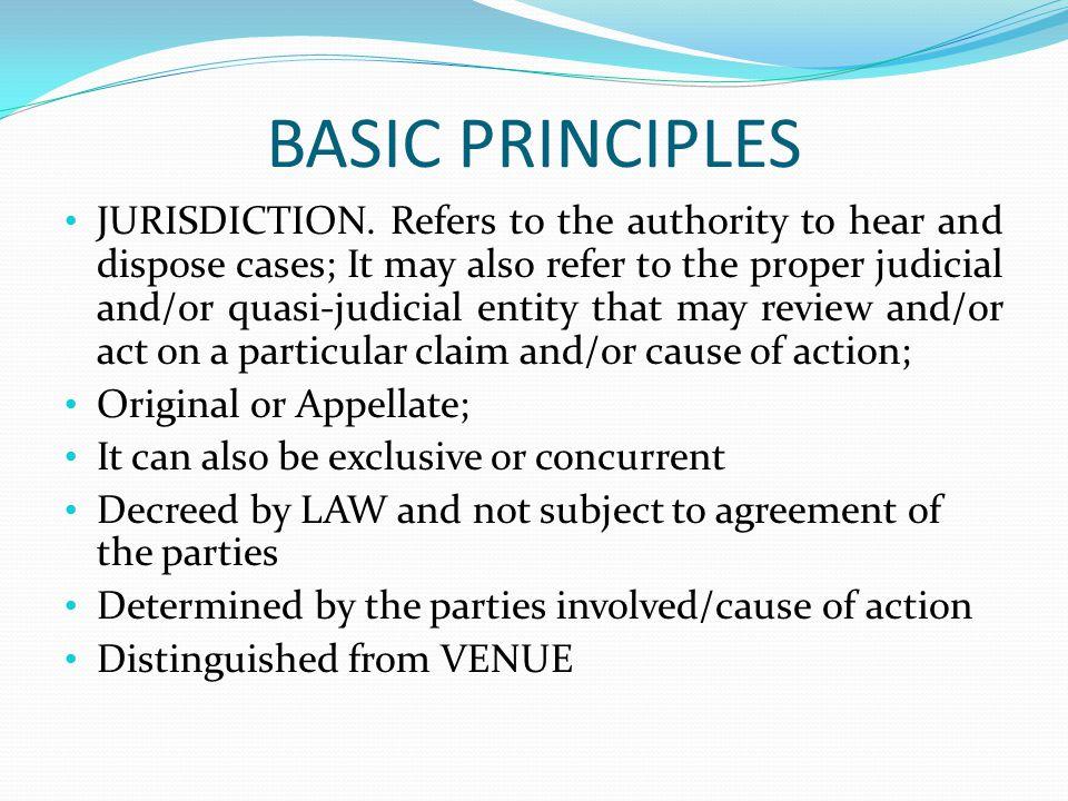 BASIC PRINCIPLES JURISDICTION.