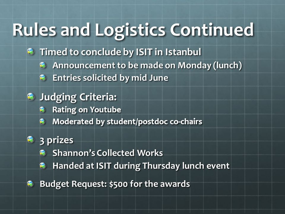 Rules and Logistics Continued Timed to conclude by ISIT in Istanbul Announcement to be made on Monday (lunch) Entries solicited by mid June Judging Criteria: Rating on Youtube Moderated by student/postdoc co-chairs 3 prizes Shannon's Collected Works Handed at ISIT during Thursday lunch event Budget Request: $500 for the awards
