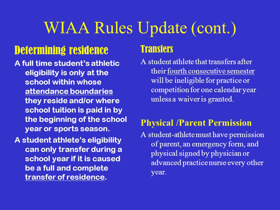 WIAA Rules UPDATE The WIAA requires that both student-athletes and their parents receive verbal and/or written instructions related to the following rules and regulations developed by the WIAA and its member schools.