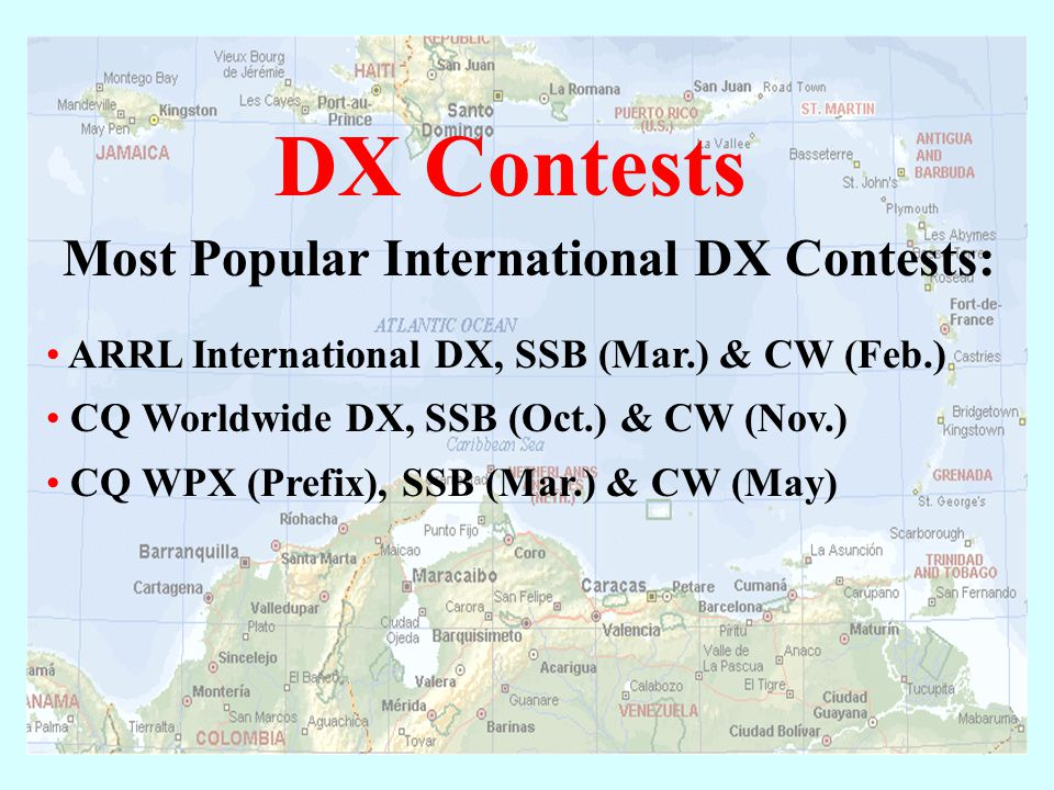 "Domestic Contests ARRL Sweepstakes Various State ""QSO Parties"" (like the California QSO Party!) Field Day (officially not a ""contest"" but many contest"