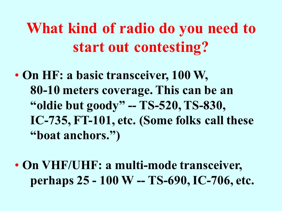 "How to Contest Know your station's limitations (these will determine whether you ""S&P"" or can ""run"" stations by calling CQ). He with ""iron pants"" is t"