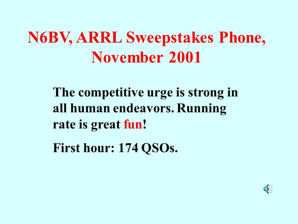 N6BV, ARRL Sweepstakes Phone, November 2001 The competitive urge is strong in all human endeavors.