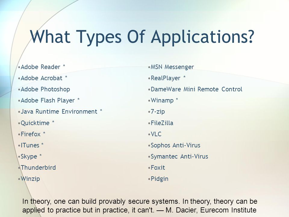 What Types Of Applications.