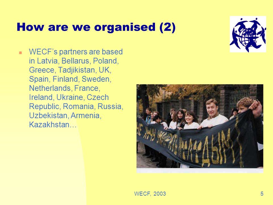 WECF, 20035 How are we organised (2) WECF's partners are based in Latvia, Bellarus, Poland, Greece, Tadjikistan, UK, Spain, Finland, Sweden, Netherlan
