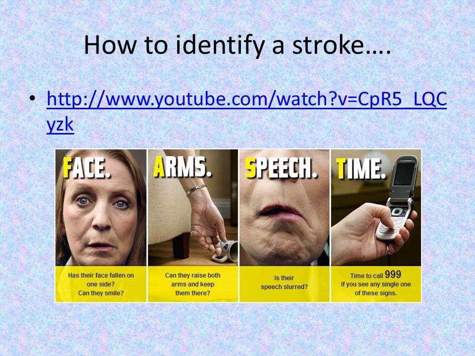How to identify a stroke…. http://www.youtube.com/watch?v=CpR5_LQC yzk http://www.youtube.com/watch?v=CpR5_LQC yzk