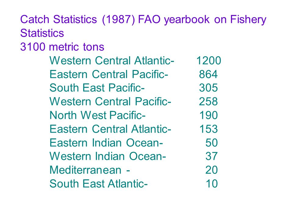 Catch Statistics (1987) FAO yearbook on Fishery Statistics 3100 metric tons Western Central Atlantic-1200 Eastern Central Pacific- 864 South East Paci