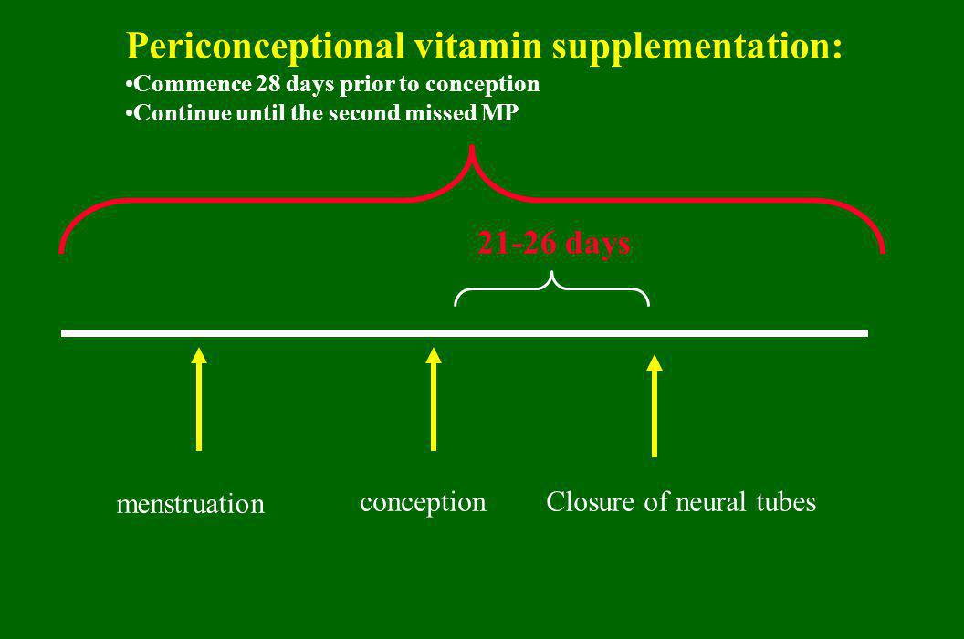 conceptionClosure of neural tubes 21-26 days menstruation Periconceptional vitamin supplementation: Commence 28 days prior to conception Continue unti