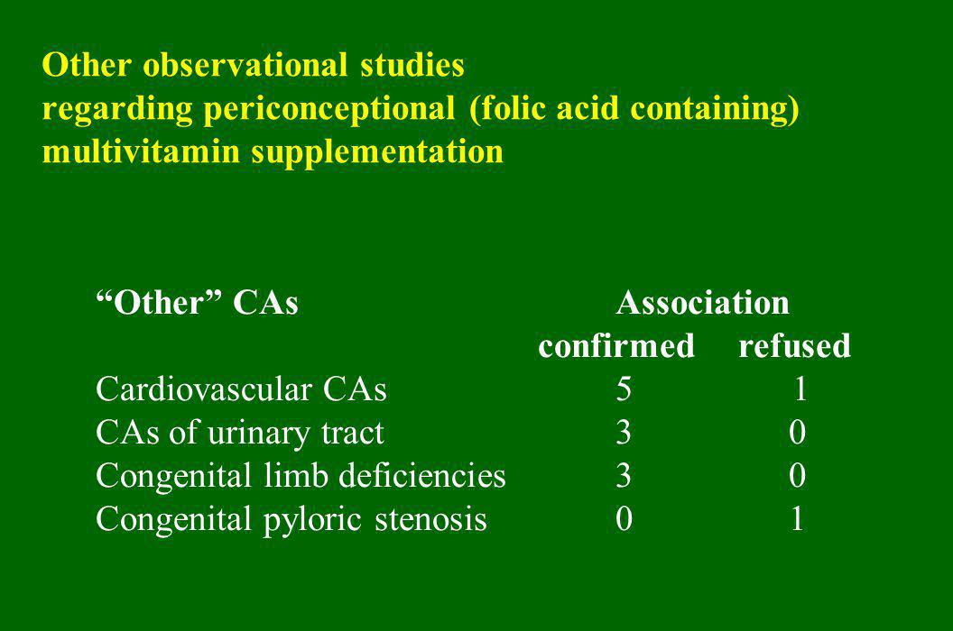 "Other observational studies regarding periconceptional (folic acid containing) multivitamin supplementation ""Other"" CAsAssociation confirmed refused C"