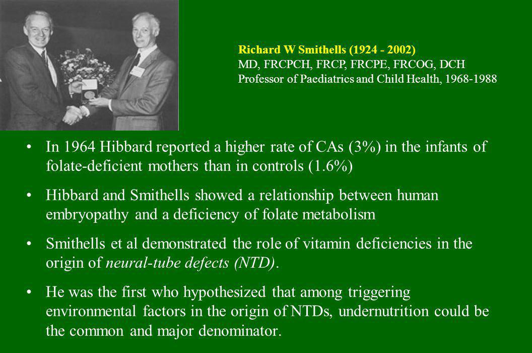 In 1964 Hibbard reported a higher rate of CAs (3%) in the infants of folate-deficient mothers than in controls (1.6%) Hibbard and Smithells showed a r