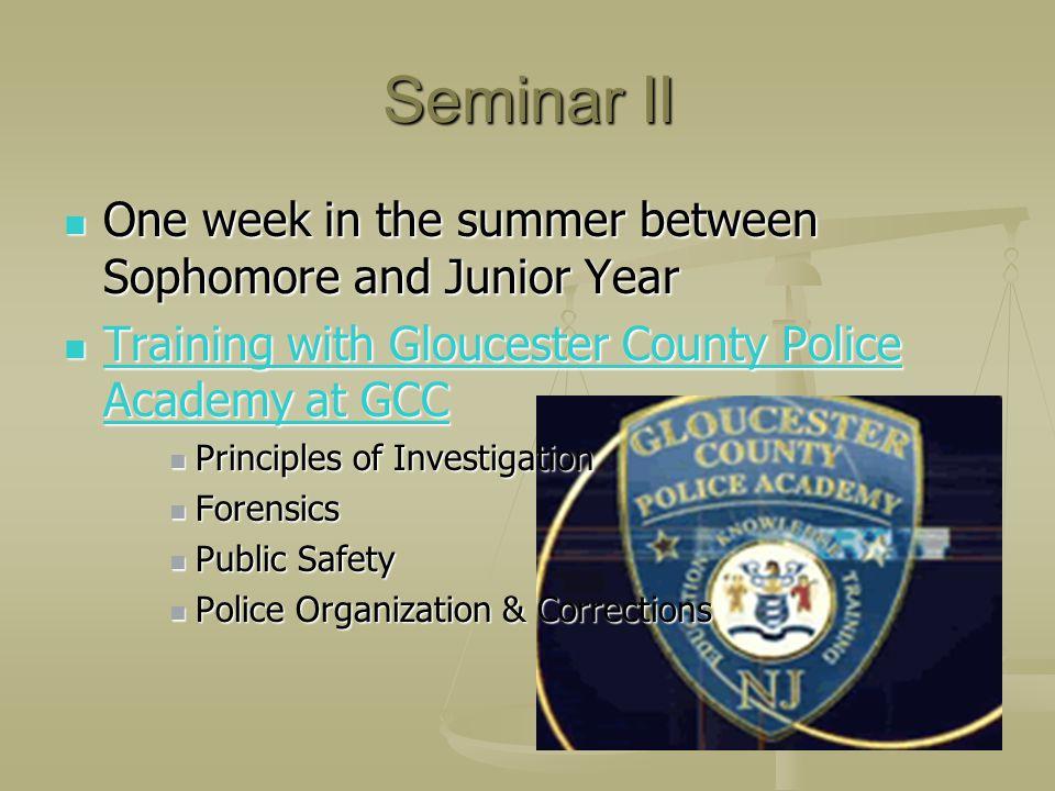 Seminar II One week in the summer between Sophomore and Junior Year T T rrrr aaaa iiii nnnn iiii nnnn gggg w w w w iiii tttt hhhh G G G G llll oooo uu