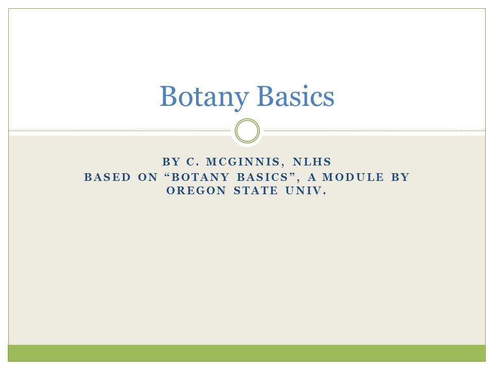 """BY C. MCGINNIS, NLHS BASED ON """"BOTANY BASICS"""", A MODULE BY OREGON STATE UNIV. Botany Basics"""