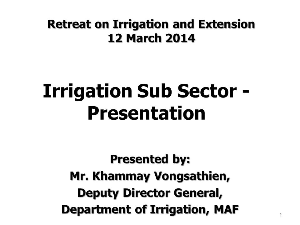 Table of Content: 2 I.Overview II.Irrigation Strategy III.Irrigation Laws IV.Planning up to 2015 V.Challenges on Irrigation