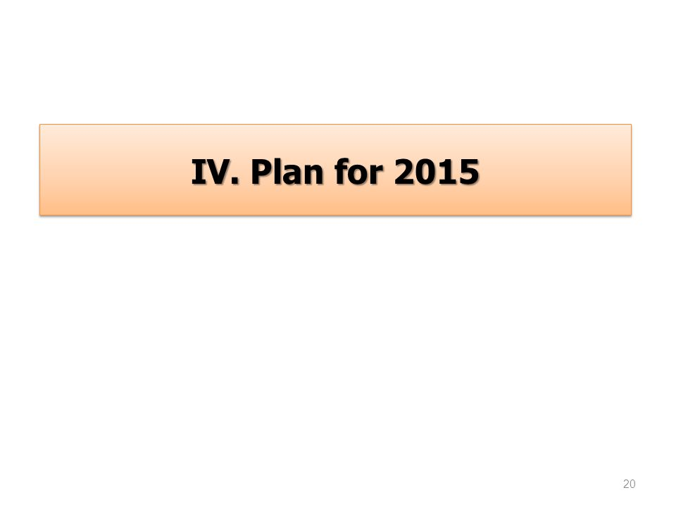 20 IV. Plan for 2015