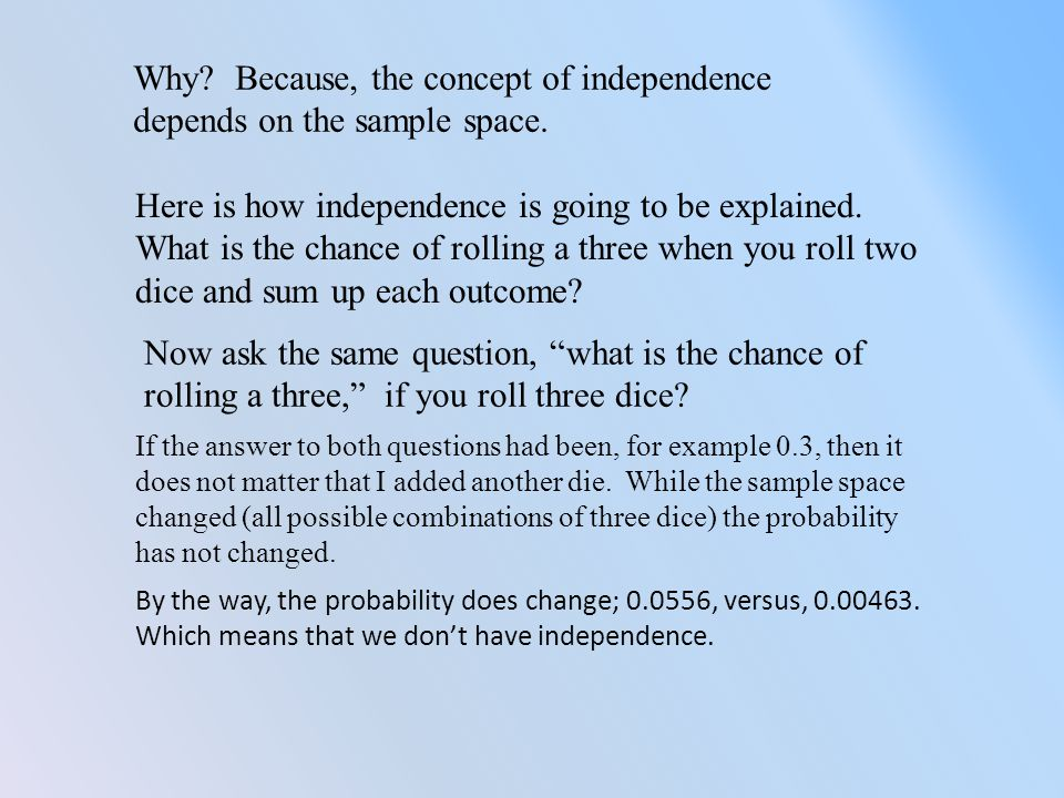 Why. Because, the concept of independence depends on the sample space.