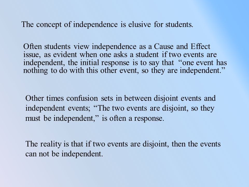 The concept of independence is elusive for students.