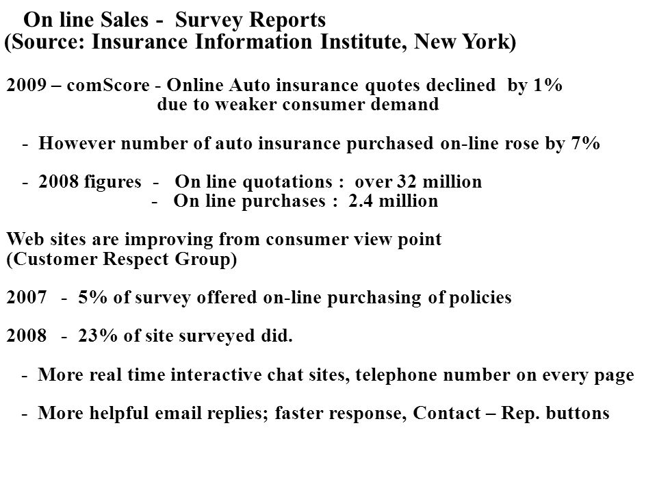 On line Sales - Survey Reports (Source: Insurance Information Institute, New York) 2009 – comScore - Online Auto insurance quotes declined by 1% due to weaker consumer demand - However number of auto insurance purchased on-line rose by 7% - 2008 figures - On line quotations : over 32 million - On line purchases : 2.4 million Web sites are improving from consumer view point (Customer Respect Group) 2007 - 5% of survey offered on-line purchasing of policies 2008 - 23% of site surveyed did.