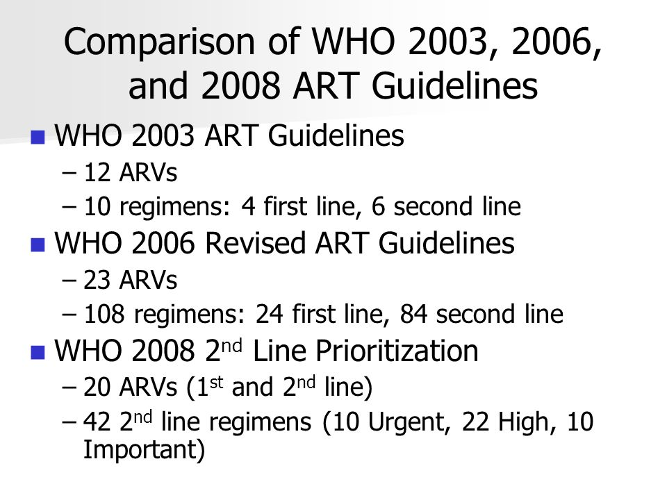 Comparison of WHO 2003, 2006, and 2008 ART Guidelines WHO 2003 ART Guidelines – –12 ARVs – –10 regimens: 4 first line, 6 second line WHO 2006 Revised ART Guidelines – –23 ARVs – –108 regimens: 24 first line, 84 second line WHO 2008 2 nd Line Prioritization – –20 ARVs (1 st and 2 nd line) – –42 2 nd line regimens (10 Urgent, 22 High, 10 Important)