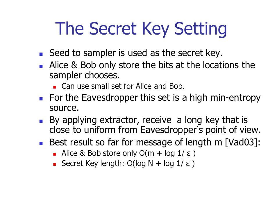 The Secret Key Setting Seed to sampler is used as the secret key.