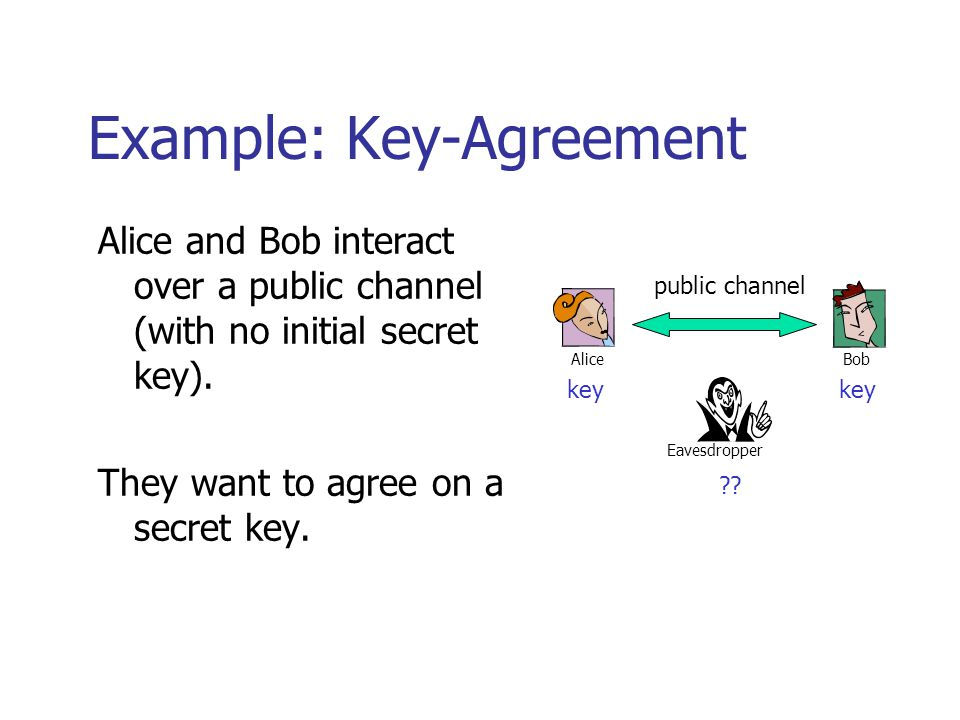 Example: Key-Agreement Alice and Bob interact over a public channel (with no initial secret key).