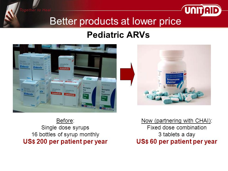 Now (partnering with CHAI): Fixed dose combination 3 tablets a day US $ 60 per patient per year Before: Single dose syrups 16 bottles of syrup monthly US $ 200 per patient per year Better products at lower price Pediatric ARVs