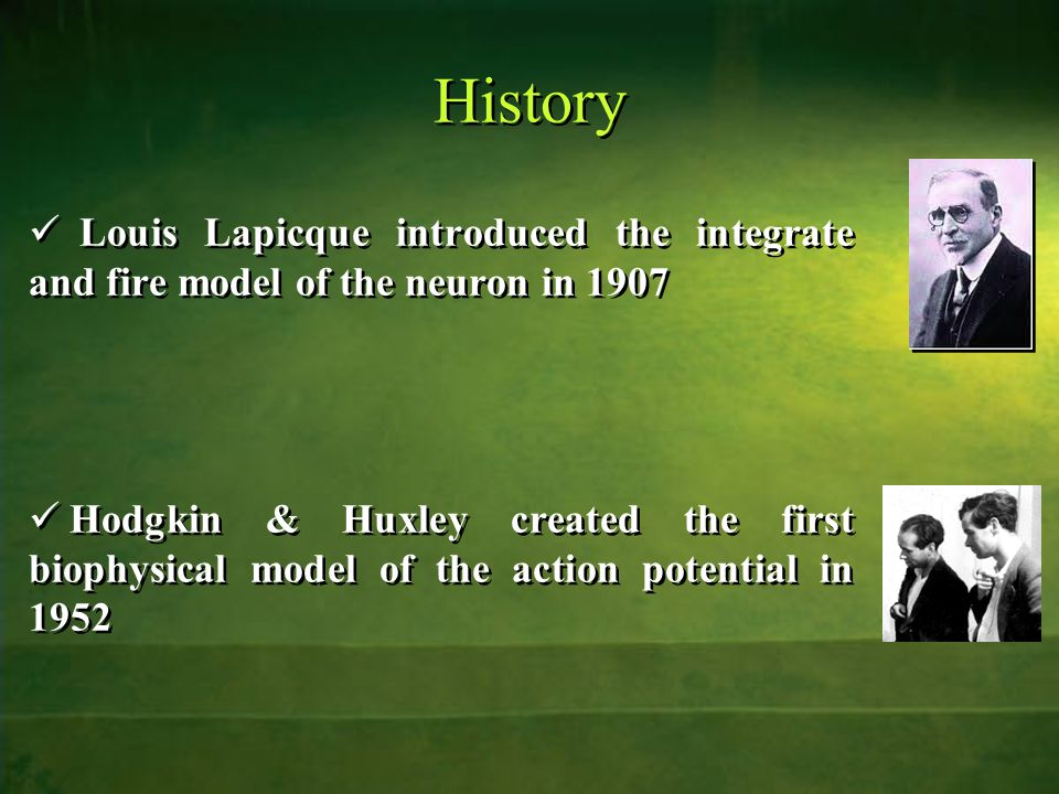 History Louis Lapicque introduced the integrate and fire model of the neuron in 1907 Hodgkin & Huxley created the first biophysical model of the action potential in 1952 Louis Lapicque introduced the integrate and fire model of the neuron in 1907 Hodgkin & Huxley created the first biophysical model of the action potential in 1952