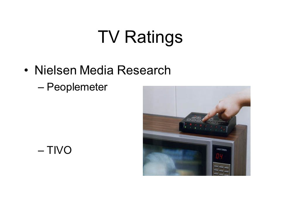 TV Ratings Nielsen Media Research –Peoplemeter –TIVO