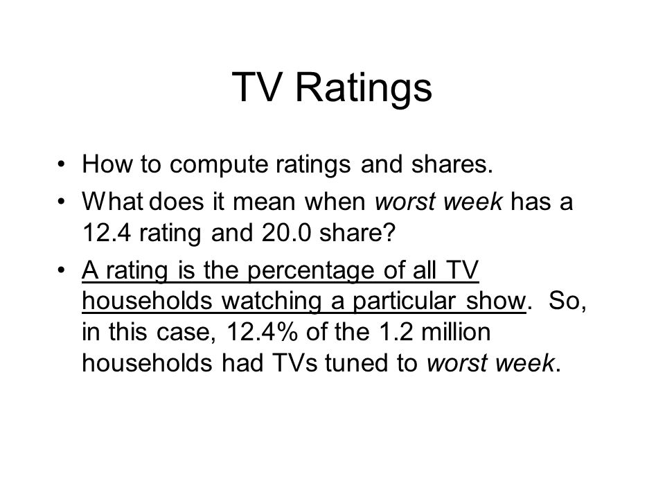 TV Ratings How to compute ratings and shares. What does it mean when worst week has a 12.4 rating and 20.0 share? A rating is the percentage of all TV
