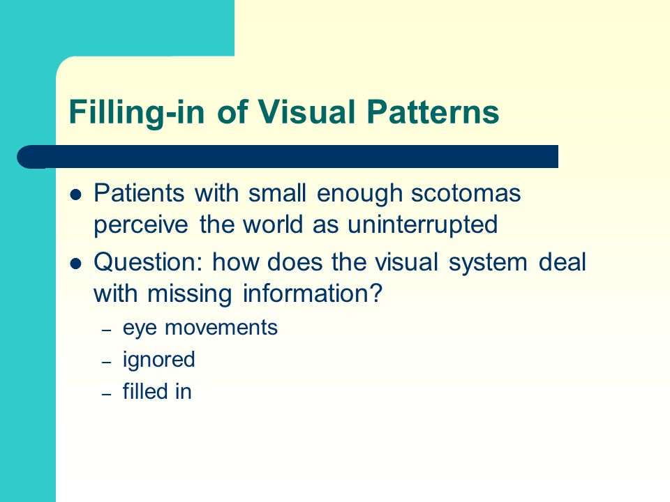 Filling-in of Visual Patterns Patients with small enough scotomas perceive the world as uninterrupted Question: how does the visual system deal with missing information.