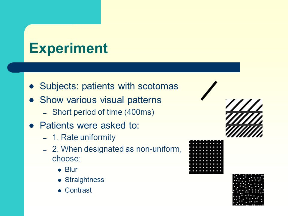 Experiment Subjects: patients with scotomas Show various visual patterns – Short period of time (400ms) Patients were asked to: – 1. Rate uniformity –