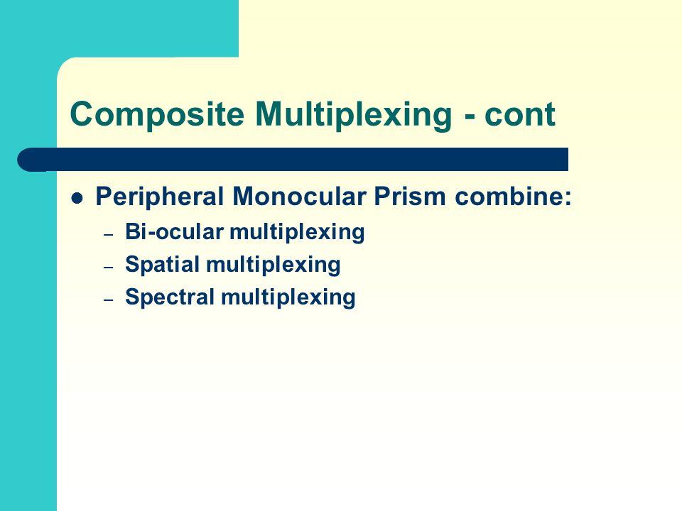 Peripheral Monocular Prism combine: – Bi-ocular multiplexing – Spatial multiplexing – Spectral multiplexing