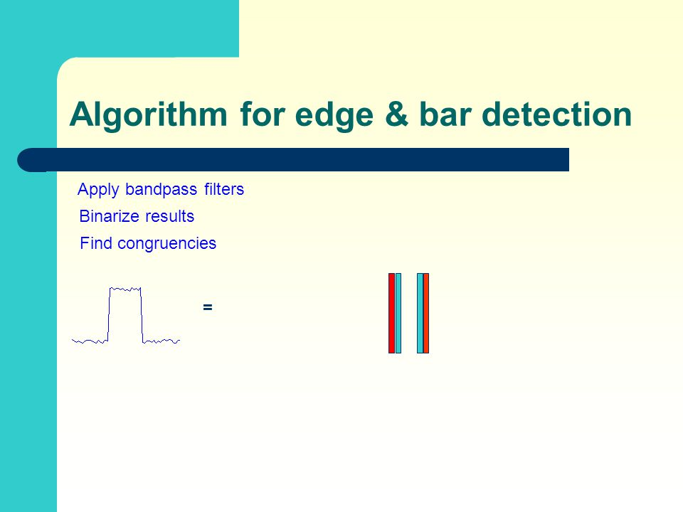 Algorithm for edge & bar detection = Apply bandpass filters Binarize results Find congruencies