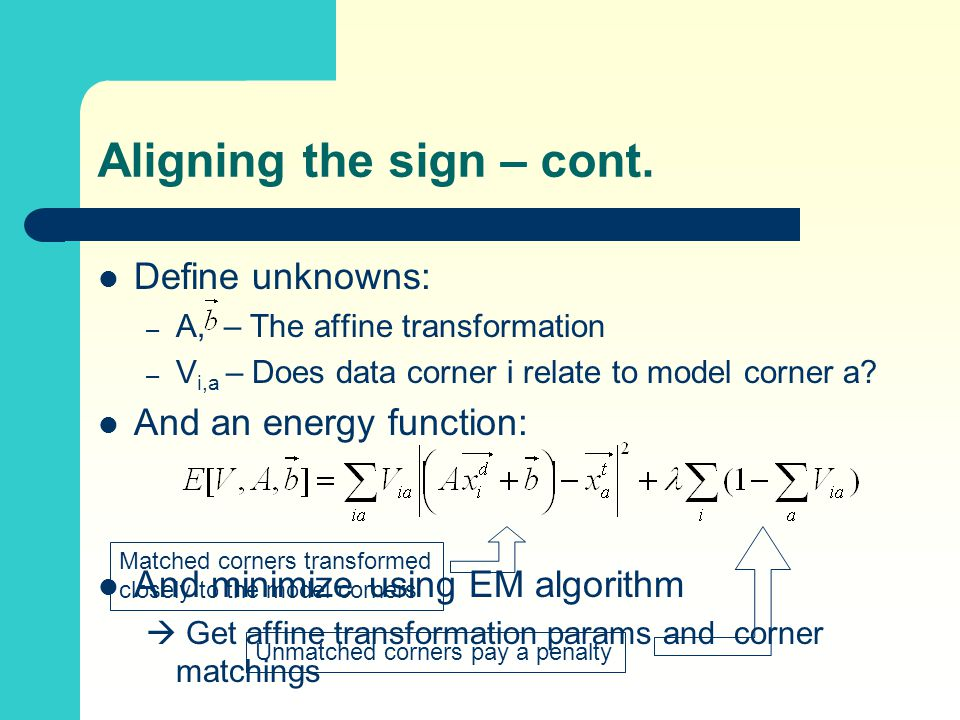 Aligning the sign – cont. Define unknowns: – A, – The affine transformation – V i,a – Does data corner i relate to model corner a? And an energy funct